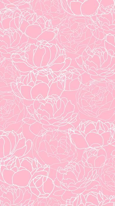 花 线描 手绘 粉色