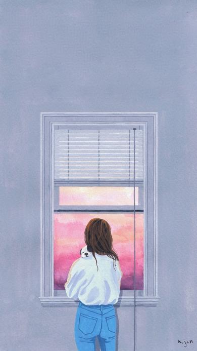 窗边女孩 手绘 插画