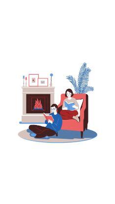 情侣 爱情 手绘 居家 插画