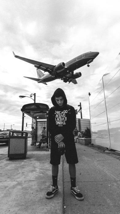 飞机 男孩 相机 黑白 飞行