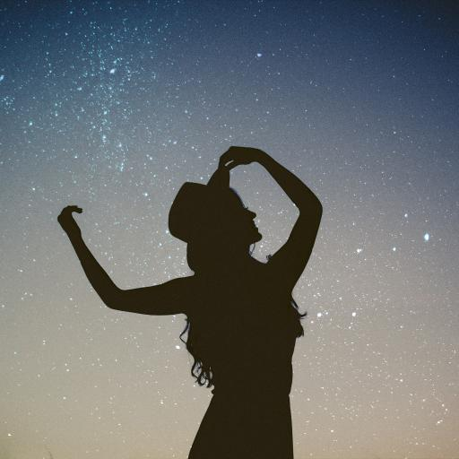 美女 星空 背影 夜晚