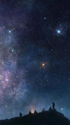 银河 星空 风景 彩色