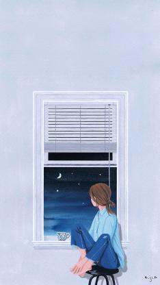 窗边 女孩 手绘 插画 夜