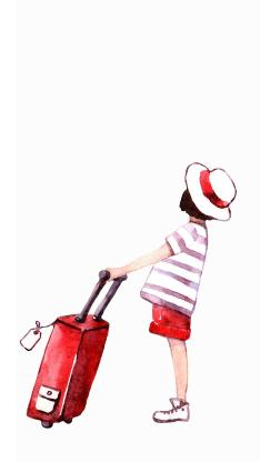 小女孩 手绘 插画 旅行 行李箱