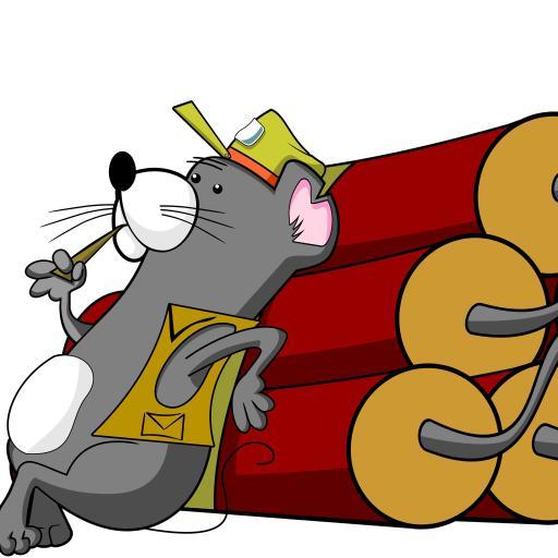 白色背景 卡通小老鼠 鞭炮