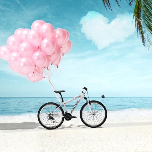 爱心 表白 自行车 沙滩 爱情 唯美小清新 浪漫粉色 创意背景海报
