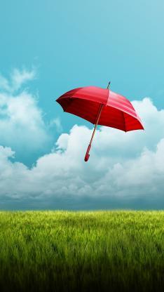 雨伞 草原 草地 蓝天