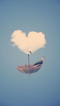 爱心 云朵 伞 鸟 创意设计