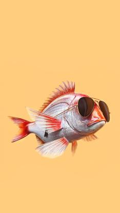 鱼 墨镜 创意 海报 黄色