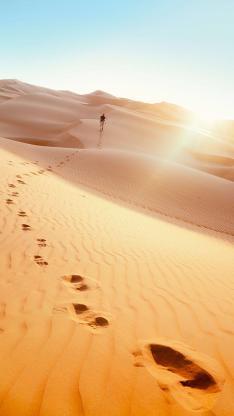 沙漠 徒步 旅行 脚印