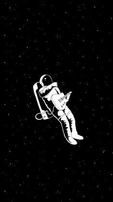 太空人 插画 黑白 创意