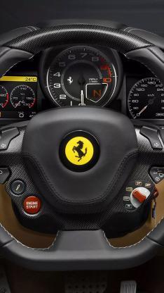 法拉利 跑车 黑色 方向盘 标志 logo