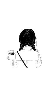 女孩 背影 马尾辫 动漫 白色