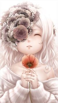 女孩 可爱 花卉 动漫 彩色