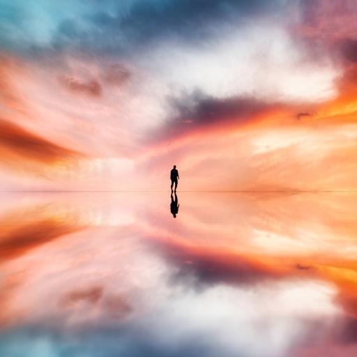 天空之境 背景剪影 人倒影火烧云 镜像 彩霞 梦幻 红黄蓝