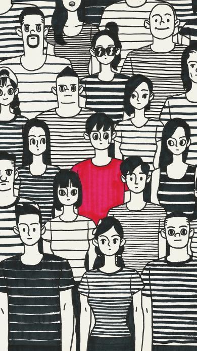 T恤 条纹 手绘 黑白 人群