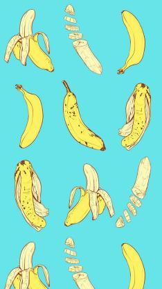 香蕉 绘画 卡通 平铺 微信背景 蓝色