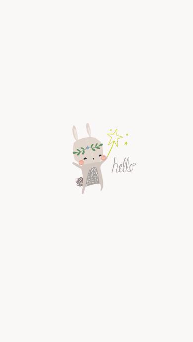 hello 兔子 手绘 简约 白色 卡通