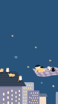夜 猫咪 飞毯 梦游 手绘 插画