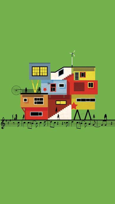 创意 房子 绿色 屋顶