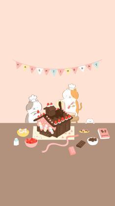 Valentine`s Day 情人节 手绘 猫咪 蛋糕