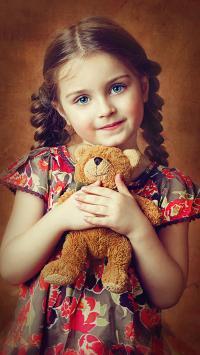 欧美 小女孩 萌娃 小熊