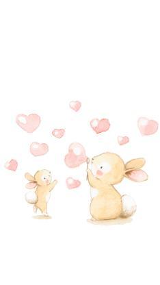 爱心泡泡 手绘 兔子