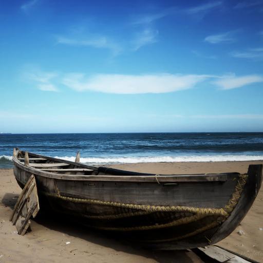 蓝天下的海景 壮阔 小木船