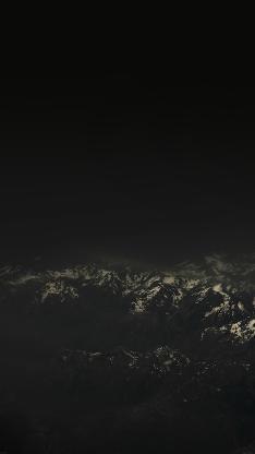 雪山 黑夜 自然 山脉 黑色