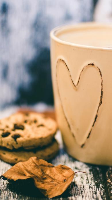 爱心 杯子 曲奇饼干 落叶