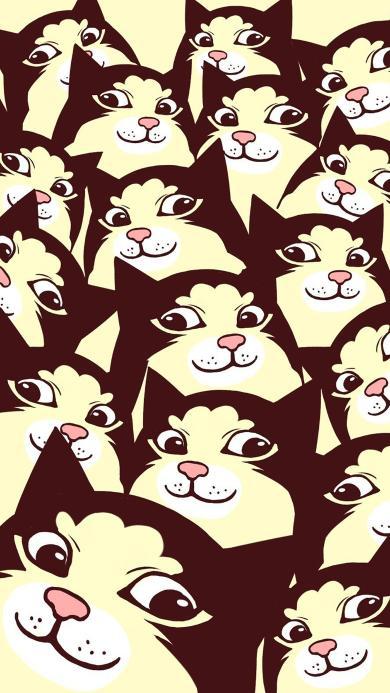 插画 猫咪 瞪眼 小猫