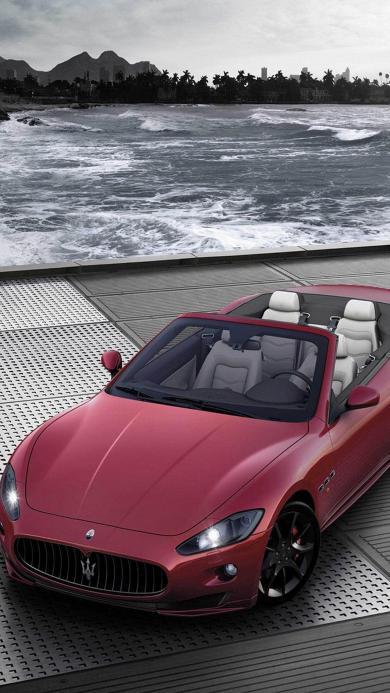 玛莎拉蒂 名车 跑车 敞篷 红色