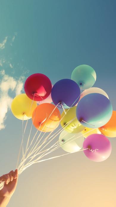 气球 彩色 天空 浪漫