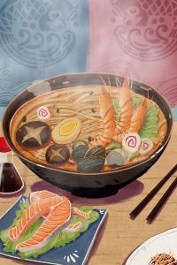 面 手绘 海鲜 三文鱼 美食