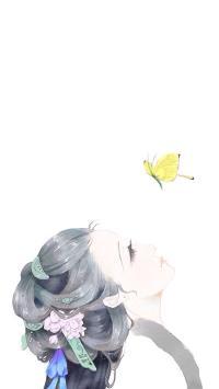 古风美女 古风 女人 水墨画 蝴蝶 动漫 彩色