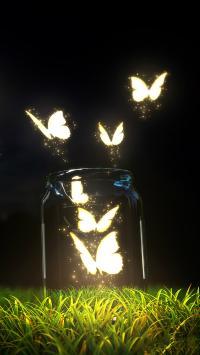 动物 蝴蝶 荧光 创意 夜晚