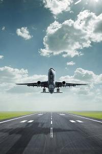 飞机 跑道 起飞 蓝天白云 航空