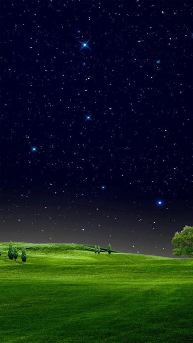 美丽夜景 草地 星空