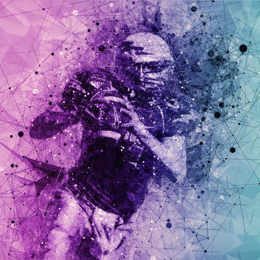 橄榄球 运动 紫色 渐变 涂鸦