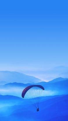 跳伞 蓝色 极限运动 山川 天空