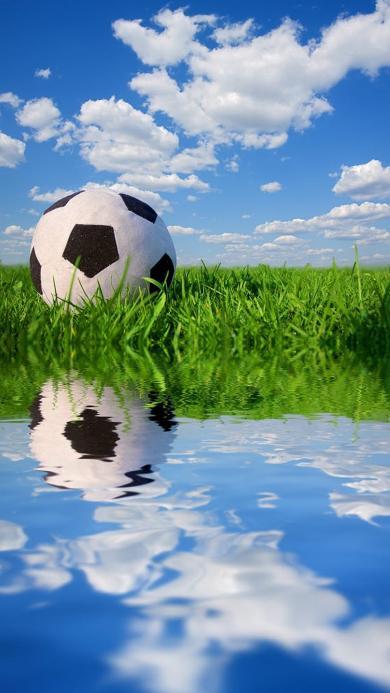 足球特写 青草 蓝天白云 水 倒影