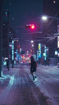城市 雪景 风景 下雪