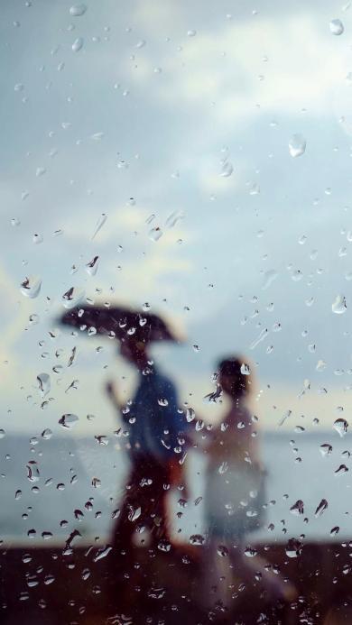 情侣 爱情 打伞 雨滴