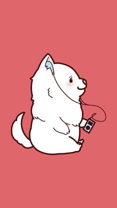 粉色背景 卡通小狗 听歌 可爱