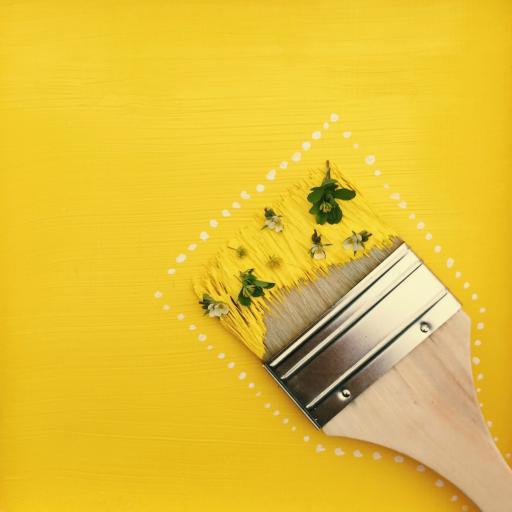 油刷 艺术 色彩 黄 创意