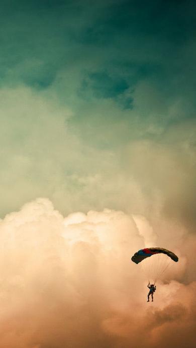 体育 跳伞 天空 白云