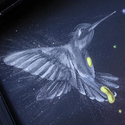 手绘蜂鸟 唯美 白色