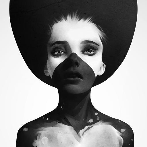 女生 黑白 创意 欧美
