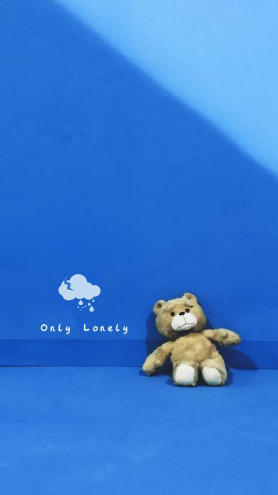 泰迪熊 only lonely 孤独 雨 蓝色 娃娃