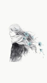 插画 手绘 水墨 动漫少女